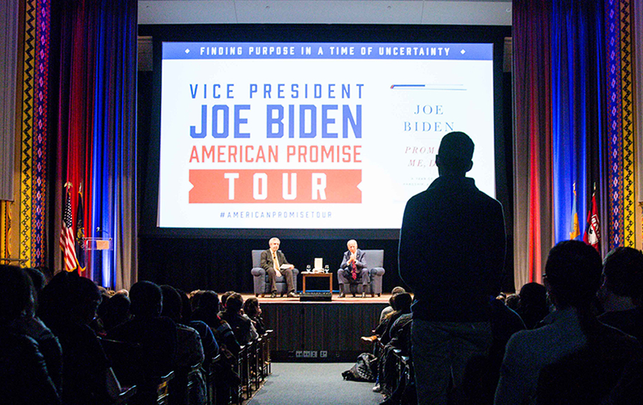 As part of his national book tour, Vice President Biden takes time to speak with Penn students about public service, loss, and the importance of hope.