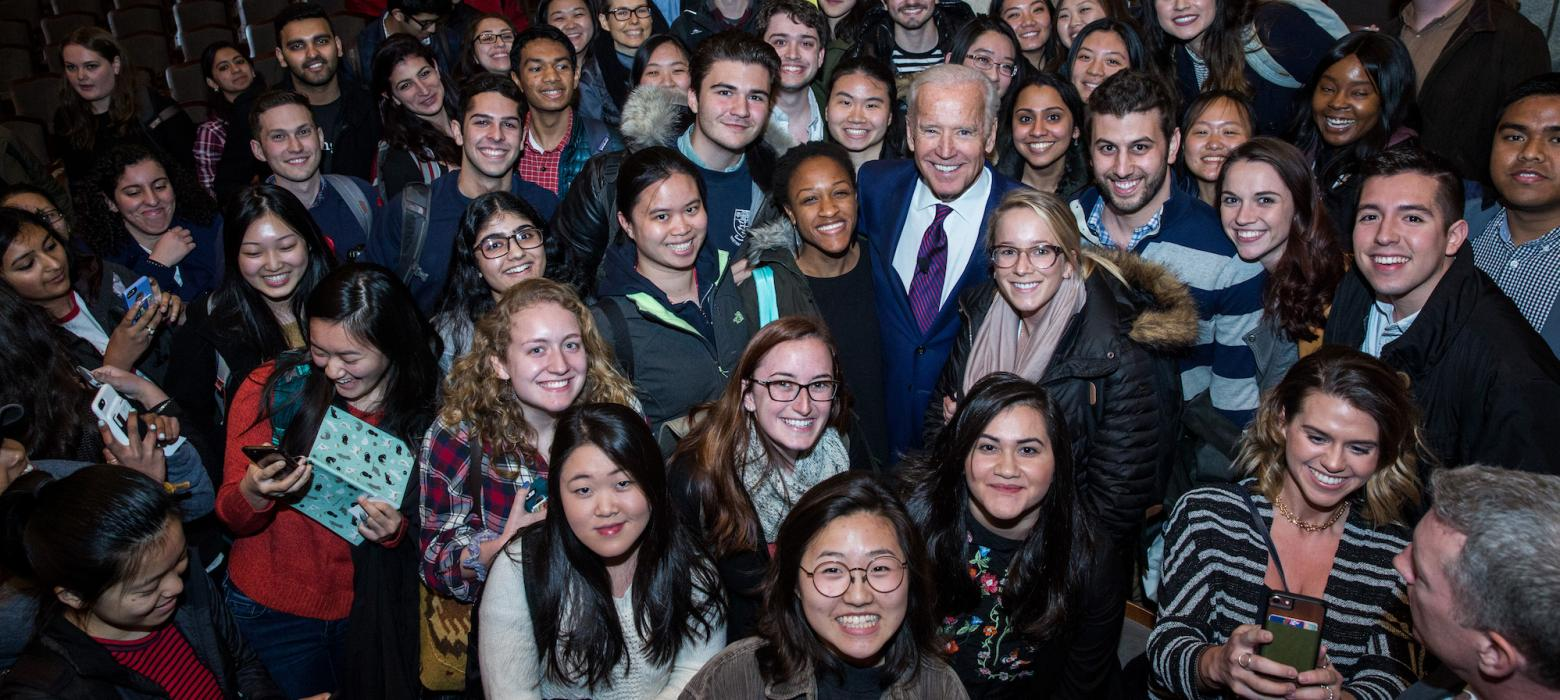 Vice President Biden takes a photo with Penn students after a speaking event.
