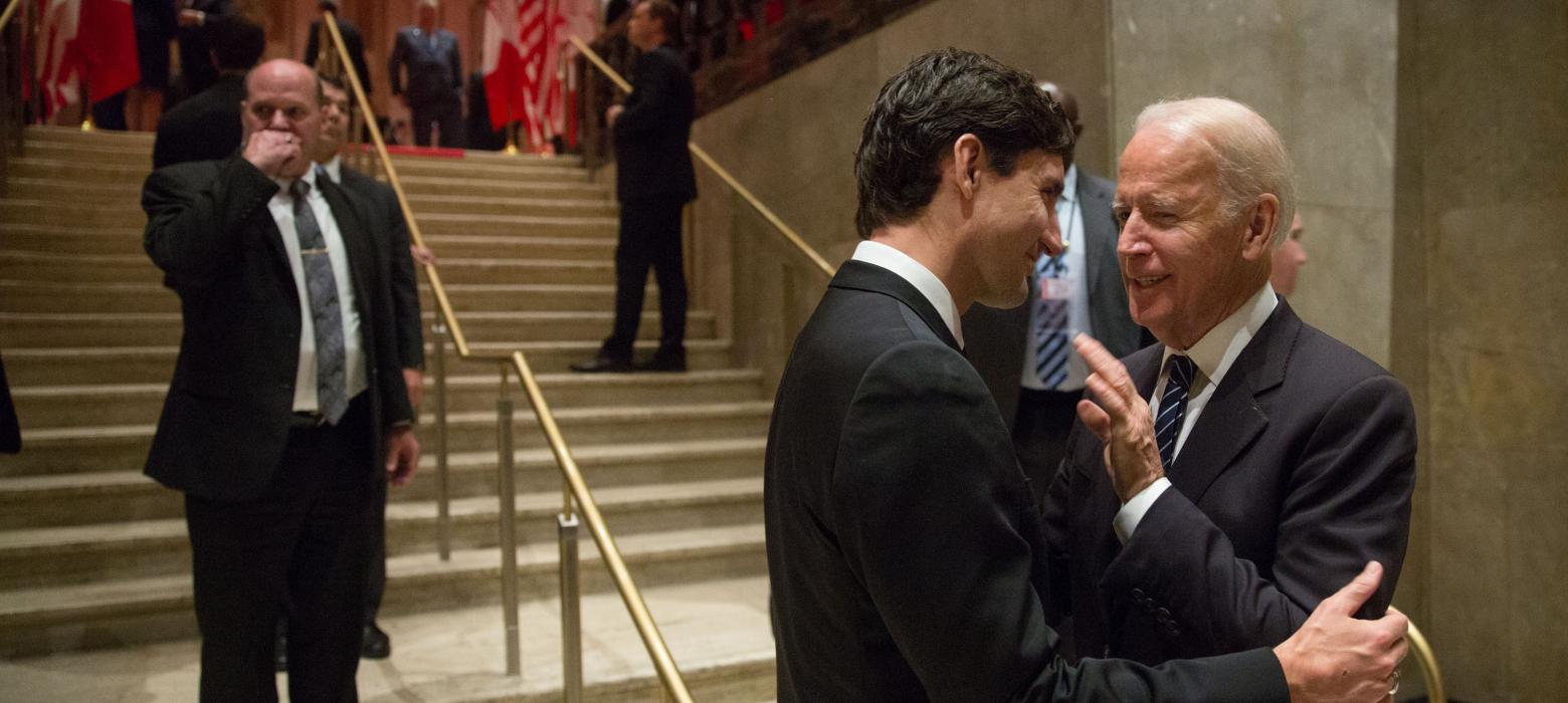 Vice President Biden speaks with Prime Minister Justin Trudeau.